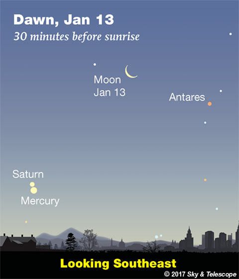 Moon, Antares, Saturn, Mercury in the dawn, Jan. 13, 2018
