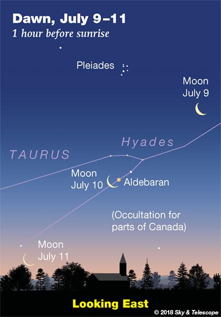 Moon, Aldebaran, Pleiades at dawn, July 9,10,11, 2018
