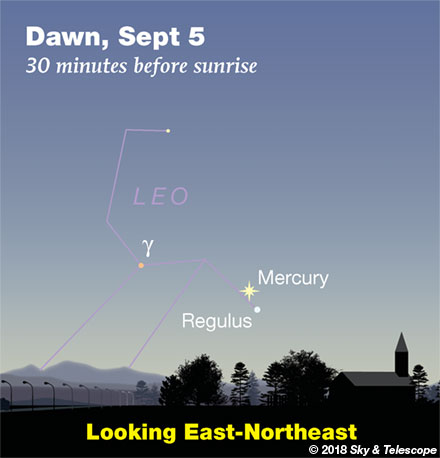 Mercury and Regulus at Dawn, September 5, 2018