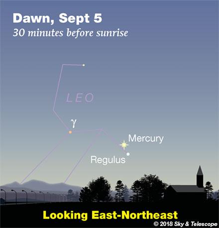 Mercury and Regulus at dawn, Sept. 5, 2018