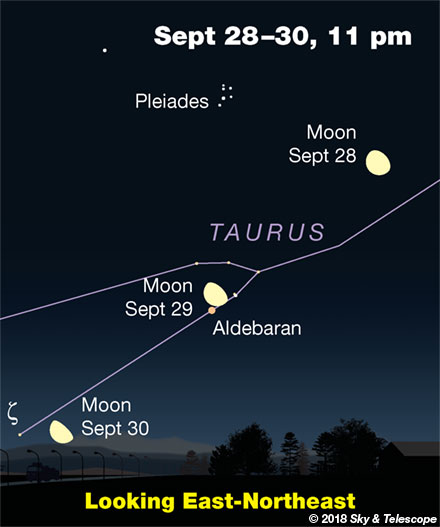 Moon and Aldebaran, Sept. 28-30, 2018