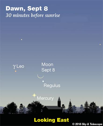 Moon and Mercury at dawn, Sept. 8, 2018