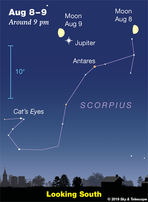 Moon with Jupiter and Antares, Aug. 8-9, 2019