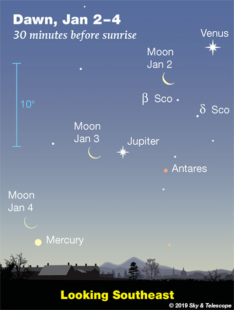 The waning crescent Moon steps down past Venus, Jupiter, and Mercury, respectively, on the mornings of January 2, 3, and 4, 2019