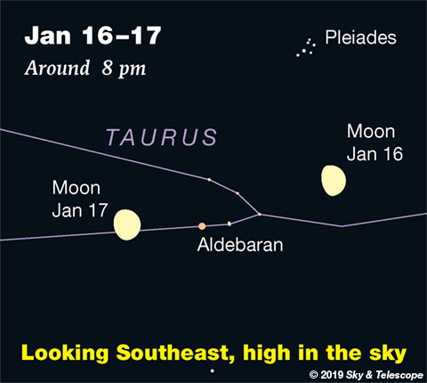 Moon, Pleiades, Aldebaran, Jan. 16-17, 2019