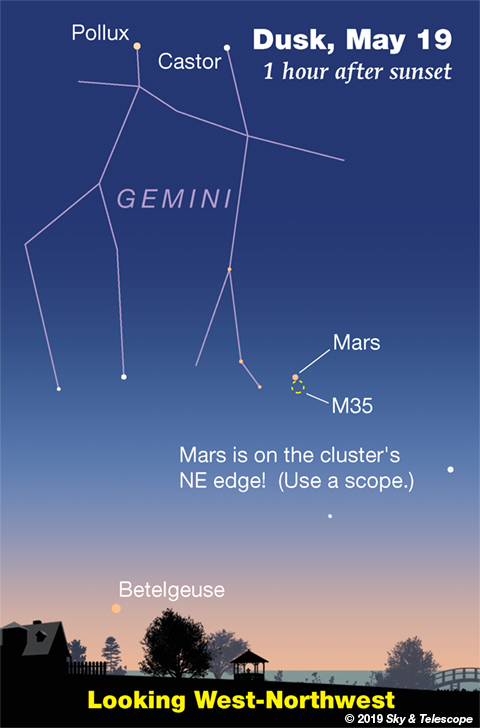 Mars at M35 in Gemini May 19, 2019