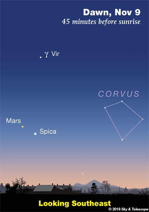 Mars and Spica at dawn, Nov. 9, 2019