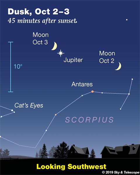 Moon and Jupiter, Oct. 2-3, 2019