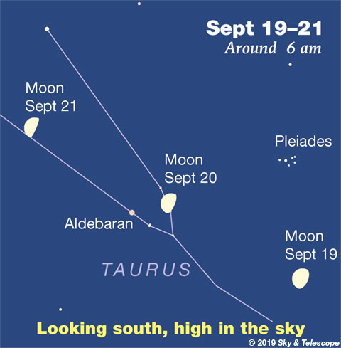 Moon, Aldebaran, Pleiades at dawn, Sept. 19-21, 2019