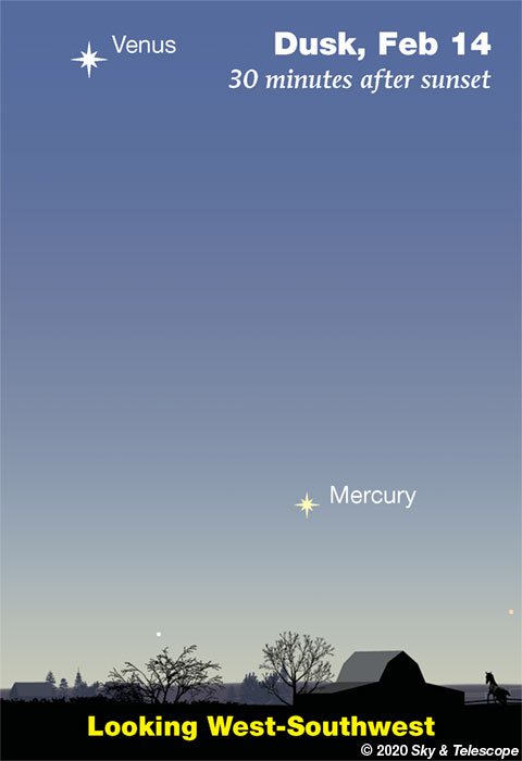 Mercury and Venus in twilight, early Feb. 2020