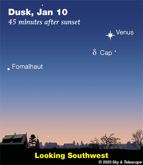 Venus and Fomalhaut at dusk, Jan. 10, 2020