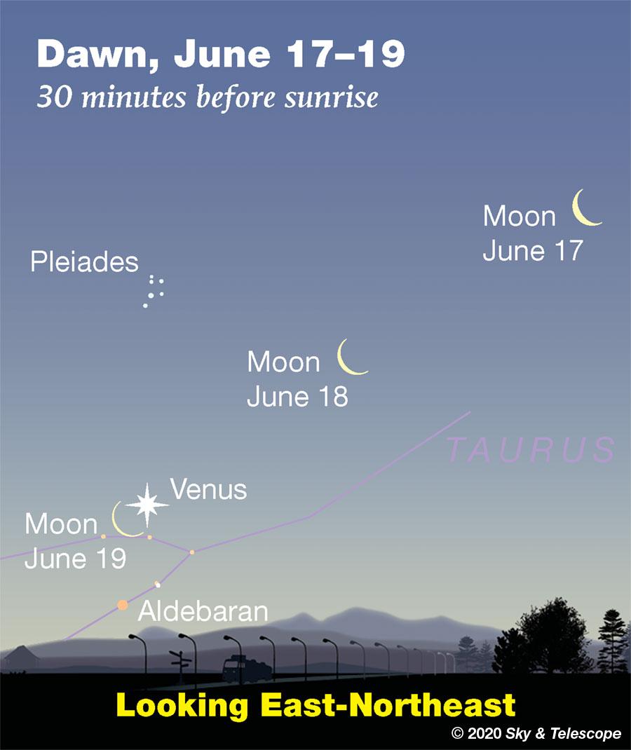 Waning Moon approaching Venus low in the dawn, June 17-19, 2020