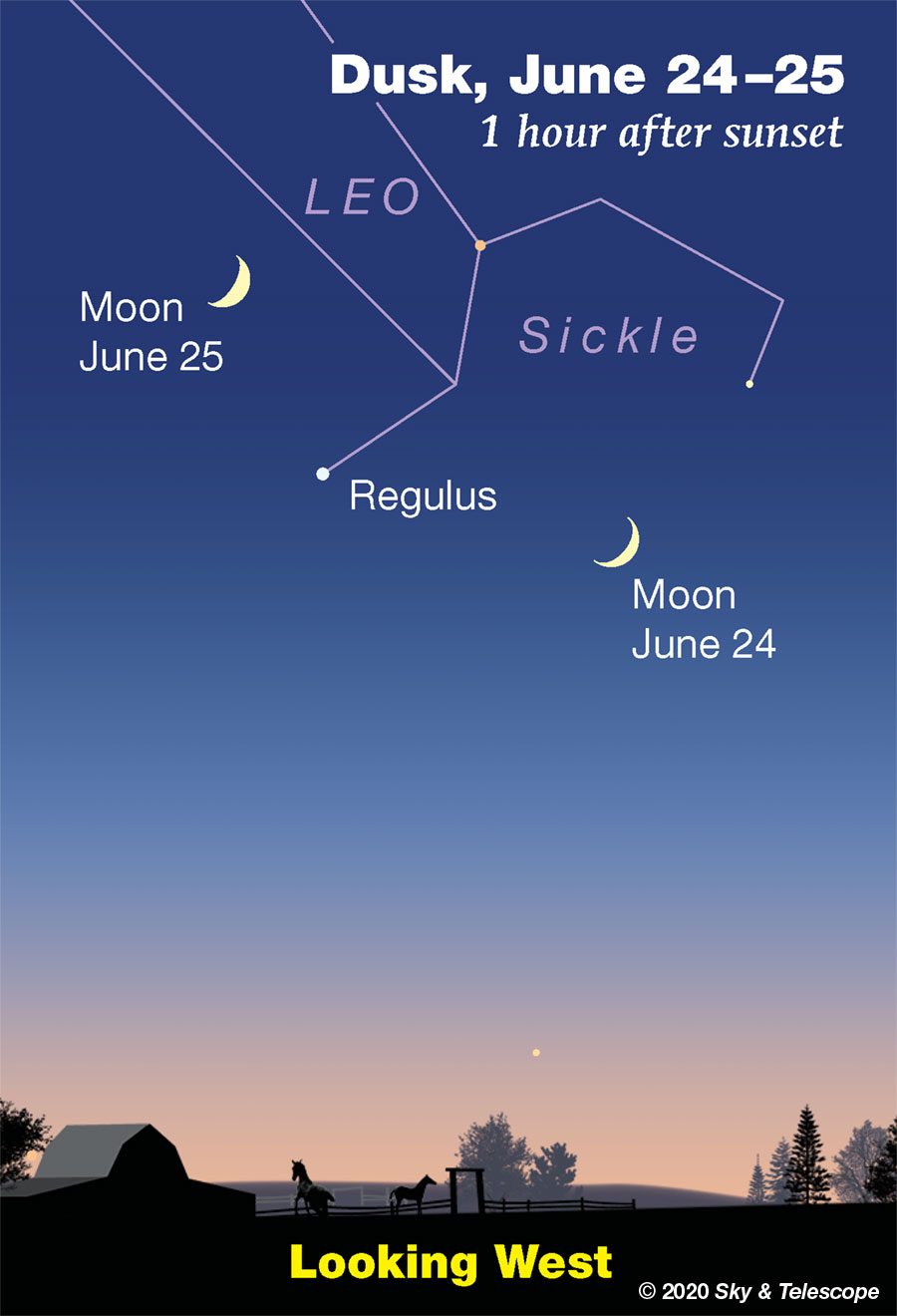 Crescent Moon passing Regulus, June 24-25, 2020