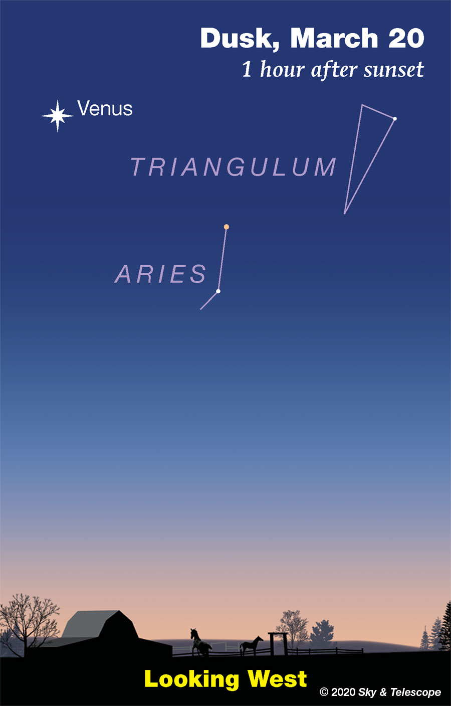 Once darkness falls, look for Aries and dimmer Triangulum some 12 to 16 degrees from brilliant Venus (March 20, 2020).