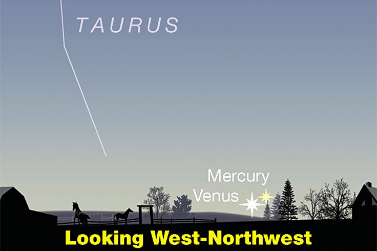 Venus and Mercury barely above the sunset horizon, April 25, 2021