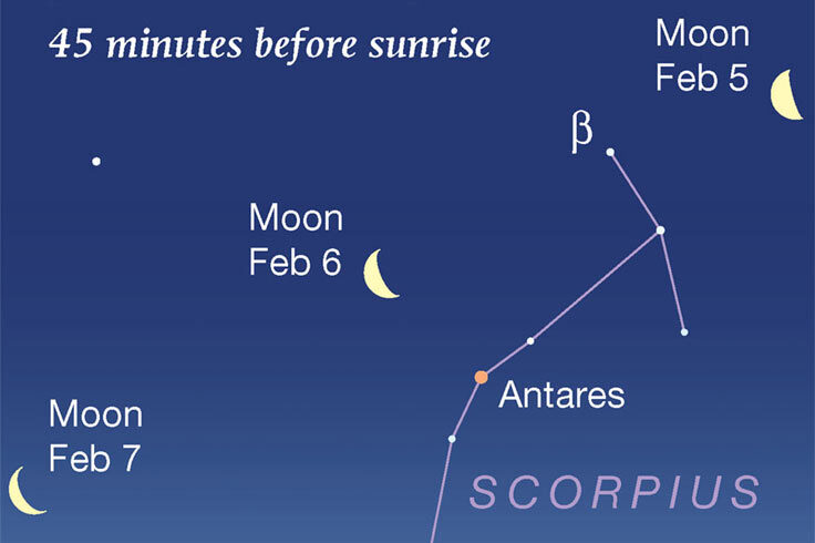 Moon and Antares at dawn, Feb 5-7, 2021
