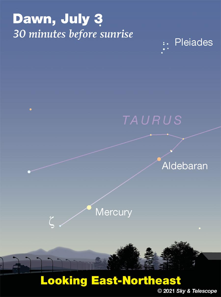 Mercury and Aldebaran low at dawn, July 3, 2021.
