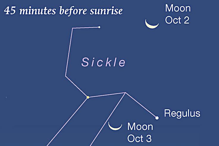 Waning Moon passing Regulus at dawn, Oct. 2-3, 2021