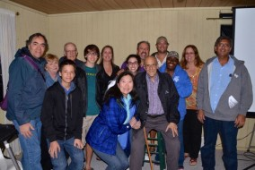 Don Parker (4th from right, front row) surrounded by family and friends at the Winter Star Party on February 18, 2015. Photo courtesy of Manuel R. Padron.