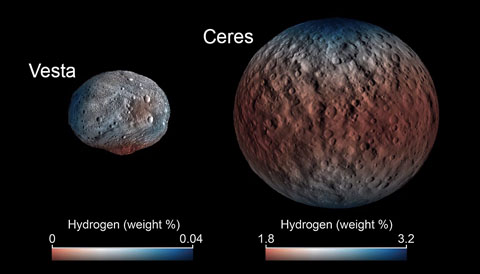 Water on Vesta and Ceres