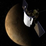 Artist's impression of Messenger in orbit around a planet. Messenger is equipped with three instruments (two cameras and a laser altimeter) to study Mercury's surface, three spectrometers to detect emissions from elements, and a magnometer. Messenger's most distinctive features are its two solar panels and sunshade.