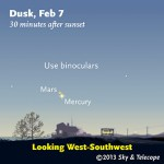 Mars appears less than 1° upper left of much brighter Mercury low in the west-southwest after sunset on February 7th.