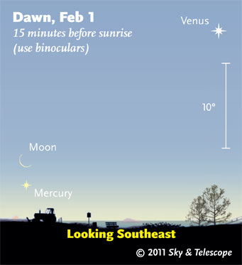 Bright sky shortly before sunrise. Use binoculars!