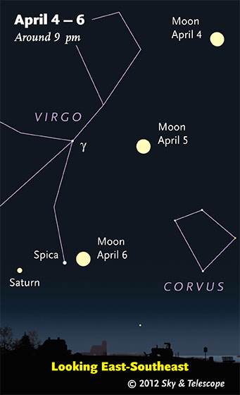 Moon, Spica, Saturn after dark