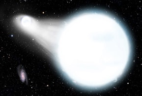 An artist's conception of two white dwarfs exchanging stellar matter in a binary system. When astronomers study the orbits of two such stars, they can test the predictions of Einstein's general theory of relativity.