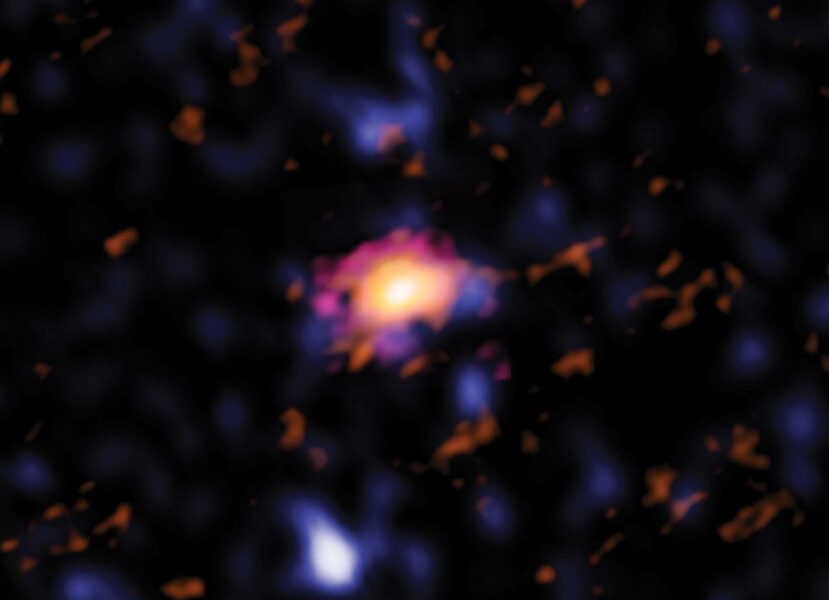 Hubble and ALMA image of early disk galaxy