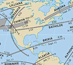 Occultation paths world-wide