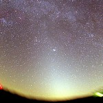 The pyramid of pearly light reaching from the horizon through the Pleiades (just right of center) is the zodiacal light.