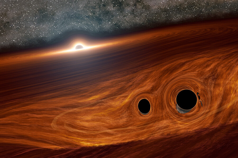 black hole binary in AGN disk