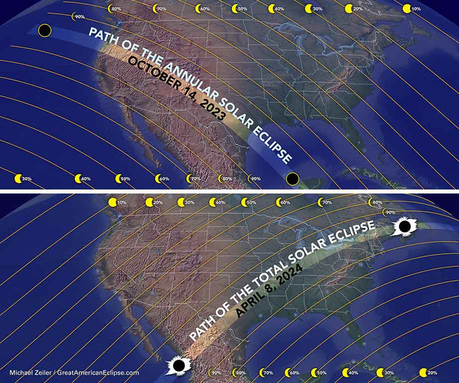Eclipse paths in 2023 and 2024