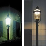 Two types of antique street light fixtures