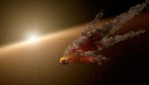 Asteroid breakup (artwork)