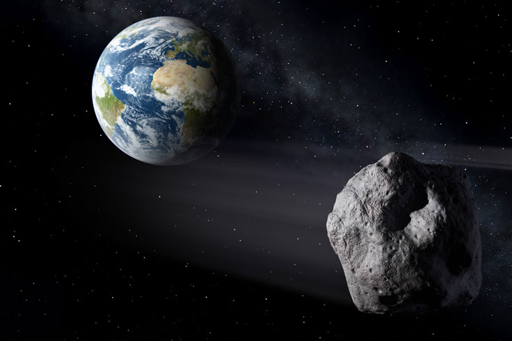 Near-Earth asteroid passing Earth