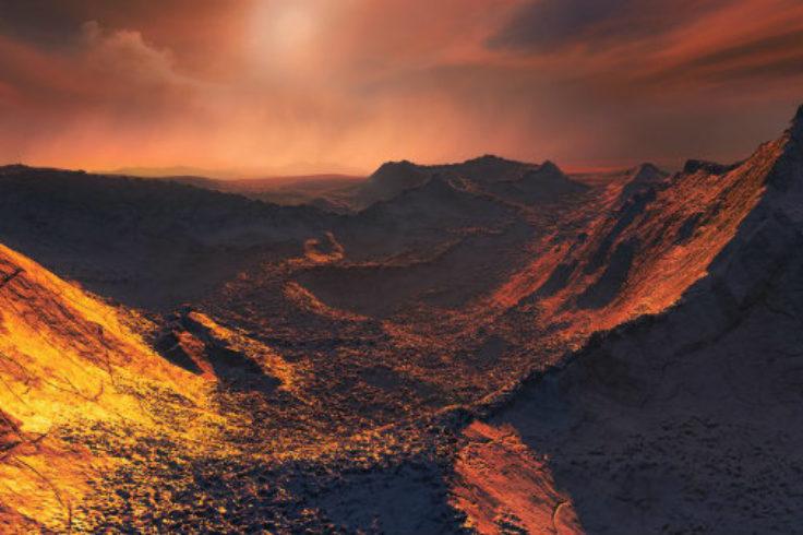 Illustration of surface of planet orbiting Barnard's star