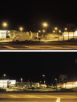 Before and after images of a cinema complex parking lot