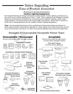 Branford, Connecticut notice regarding outdoor lighting regulati