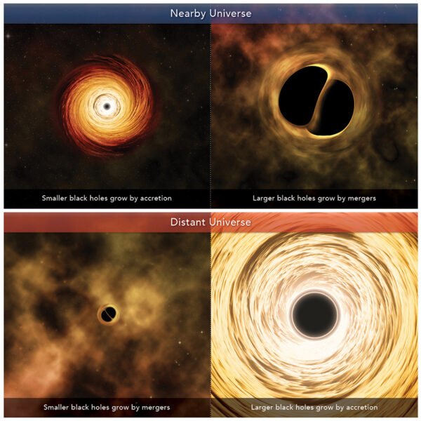 illustrations of different kinds of black hole growth