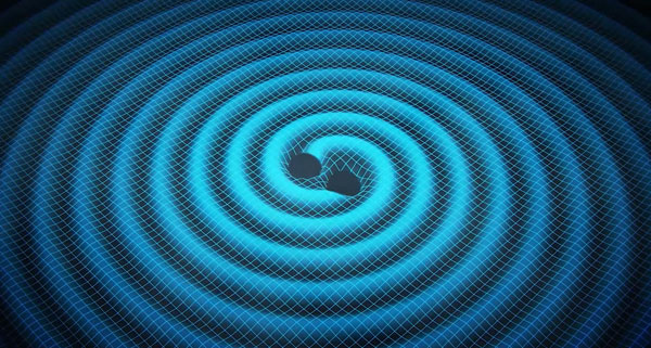 When two black holes twirl in a mutual orbit, they radiate gravitational waves, leaking orbital energy and spiraling in toward each other. This artist's concept portrays the radiating ripples on a 2D spacetime surface so we can better imagine it.Swinburne Astronomy Productions