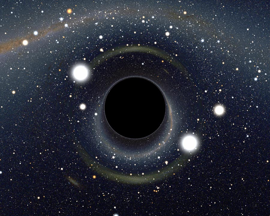 Computer generated image of a black hole causing distortions in the surrounding light. Alain Riazuelo