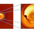 gas spiraling toward binary black hole