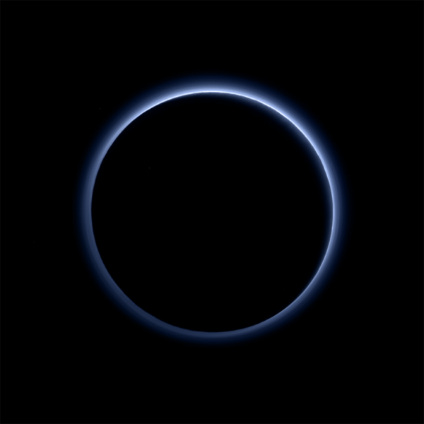 Pluto's atmosphere lit from behind