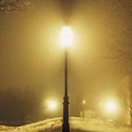 Bright street light at night in winter