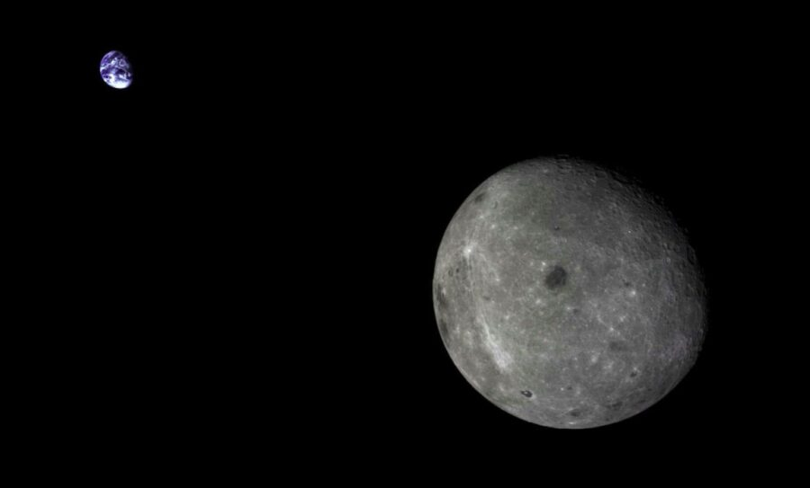 Chang'e 5 T1 view of the Moon and Earth
