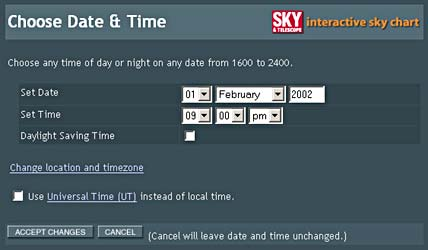 Choose Date and Time Screen