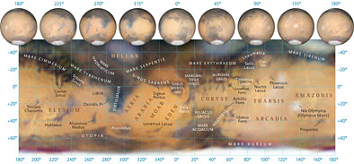 Use this map to find the names of surface features you see. (Most telescopes will show only the largest dark regions.) The globes are tipped correctly for the current apparition. Each globe displays the central-meridian longitude directly below it on the map. South is up. Click on the image for a larger version. Damien Peach