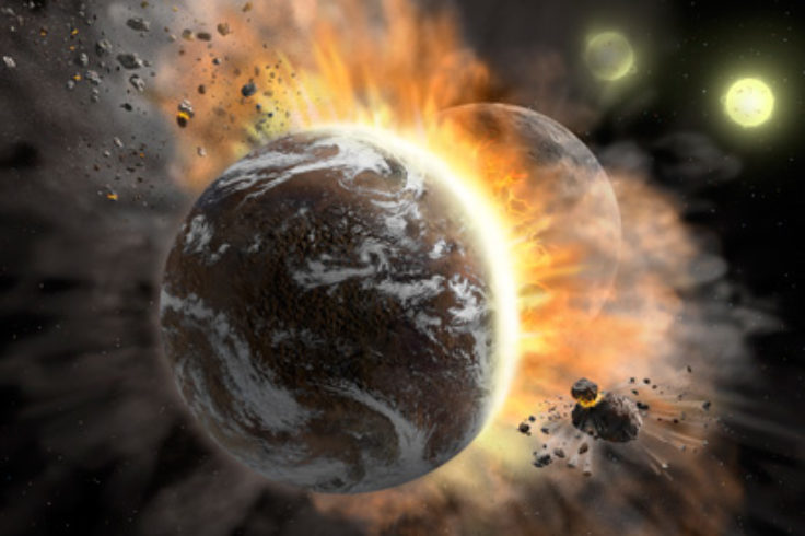 Colliding exoplanets (artist's concept)